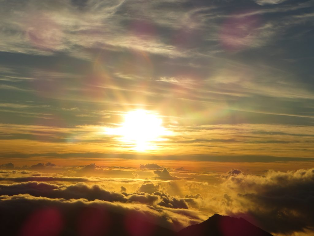 Maui Sunrise from the top of the crater. Richard Uzelac, photographer.